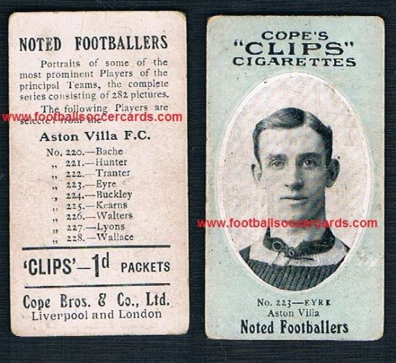1910 Cope Brothers Noted Footballers 282 series Eyre Aston Villa 223